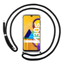 Funda Colgante Transparente para Samsung Galaxy M30s / M21 con Cordon Negro
