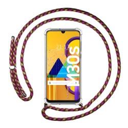 Funda Colgante Transparente para Samsung Galaxy M30s / M21 con Cordon Rosa / Dorado