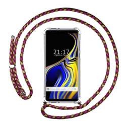 Funda Colgante Transparente para Samsung Galaxy Note 9 con Cordon Rosa / Dorado