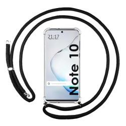 Funda Colgante Transparente para Samsung Galaxy Note10 con Cordon Negro