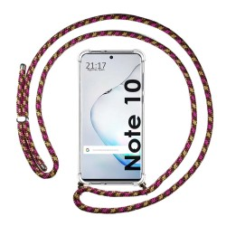 Funda Colgante Transparente para Samsung Galaxy Note10 con Cordon Rosa / Dorado