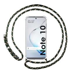 Funda Colgante Transparente para Samsung Galaxy Note10 con Cordon Verde / Dorado