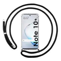 Funda Colgante Transparente para Samsung Galaxy Note10+ con Cordon Negro