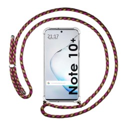 Funda Colgante Transparente para Samsung Galaxy Note10+ con Cordon Rosa / Dorado