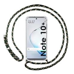 Funda Colgante Transparente para Samsung Galaxy Note10+ con Cordon Verde / Dorado