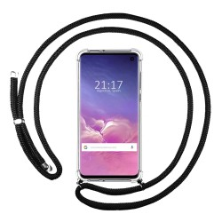 Funda Colgante Transparente para Samsung Galaxy S10 con Cordon Negro