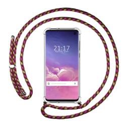 Funda Colgante Transparente para Samsung Galaxy S10 con Cordon Rosa / Dorado