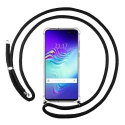 Funda Colgante Transparente para Samsung Galaxy S10 5G con Cordon Negro