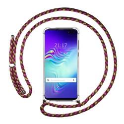 Funda Colgante Transparente para Samsung Galaxy S10 5G con Cordon Rosa / Dorado