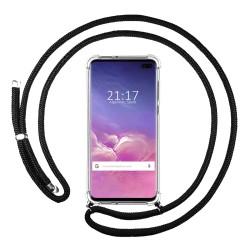 Funda Colgante Transparente para Samsung Galaxy S10 Plus con Cordon Negro