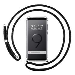 Funda Colgante Transparente para Samsung Galaxy S9 con Cordon Negro