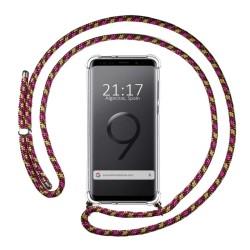 Funda Colgante Transparente para Samsung Galaxy S9 con Cordon Rosa / Dorado