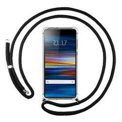 Funda Colgante Transparente para Sony Xperia 10 con Cordon Negro
