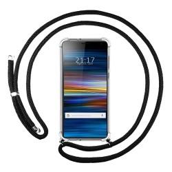Funda Colgante Transparente para Sony Xperia 10 Plus con Cordon Negro