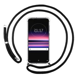 Funda Colgante Transparente para Sony Xperia 5 con Cordon Negro