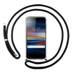 Funda Colgante Transparente para Sony Xperia L3 con Cordon Negro