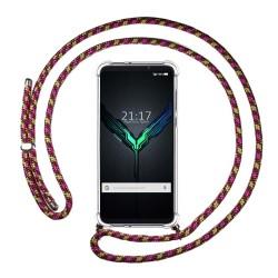 Funda Colgante Transparente para Xiaomi Black Shark 2 con Cordon Rosa / Dorado