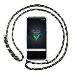 Funda Colgante Transparente para Xiaomi Black Shark 2 con Cordon Verde / Dorado
