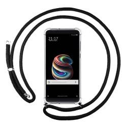 Funda Colgante Transparente para Xiaomi Mi 5S Plus con Cordon Negro