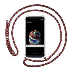 Funda Colgante Transparente para Xiaomi Mi 5S Plus con Cordon Rosa / Dorado