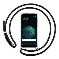 Funda Colgante Transparente para Xiaomi Mi 6X / Mi A2 con Cordon Negro