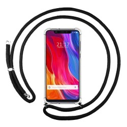 Funda Colgante Transparente para Xiaomi Mi 8 con Cordon Negro