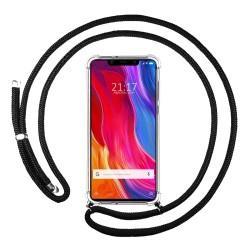 Funda Colgante Transparente para Xiaomi Mi 8 Se con Cordon Negro