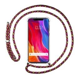 Funda Colgante Transparente para Xiaomi Mi 8 Se con Cordon Rosa / Dorado