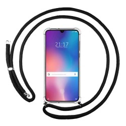 Funda Colgante Transparente para Xiaomi Mi 9 con Cordon Negro