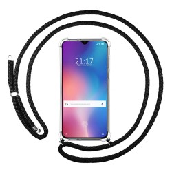 Funda Colgante Transparente para Xiaomi Mi 9 SE con Cordon Negro