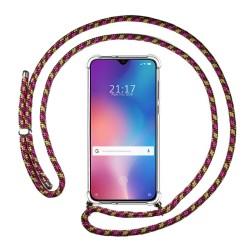 Funda Colgante Transparente para Xiaomi Mi 9 SE con Cordon Rosa / Dorado
