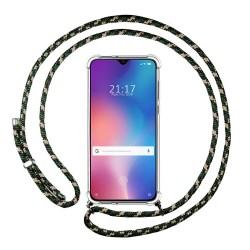 Funda Colgante Transparente para Xiaomi Mi 9 SE con Cordon Verde / Dorado