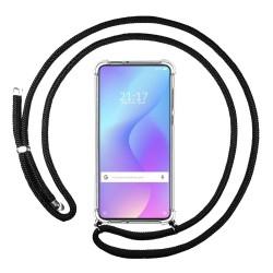 Funda Colgante Transparente para Xiaomi Mi 9T / Mi 9T Pro con Cordon Negro