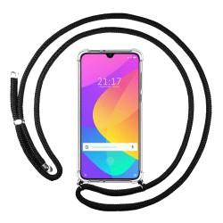 Funda Colgante Transparente para Xiaomi Mi A3 con Cordon Negro