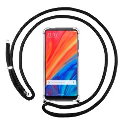 Funda Colgante Transparente para Xiaomi Mi Mix 2S con Cordon Negro