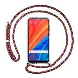 Funda Colgante Transparente para Xiaomi Mi Mix 2S con Cordon Rosa / Dorado
