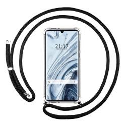 Funda Colgante Transparente para Xiaomi Mi Note 10 con Cordon Negro