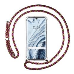 Funda Colgante Transparente para Xiaomi Mi Note 10 con Cordon Rosa / Dorado