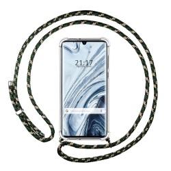 Funda Colgante Transparente para Xiaomi Mi Note 10 con Cordon Verde / Dorado