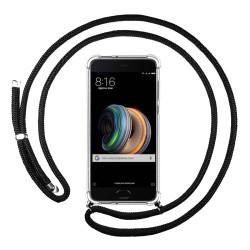 Funda Colgante Transparente para Xiaomi Mi Note 2 5.7 con Cordon Negro