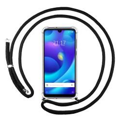 Funda Colgante Transparente para Xiaomi Mi Play con Cordon Negro
