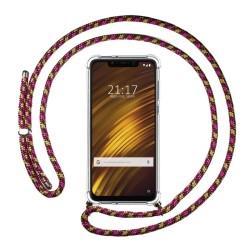 Funda Colgante Transparente para Xiaomi Pocophone F1 con Cordon Rosa / Dorado