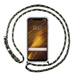 Funda Colgante Transparente para Xiaomi Pocophone F1 con Cordon Verde / Dorado