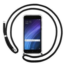 Funda Colgante Transparente para Xiaomi Redmi 4 Pro con Cordon Negro