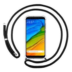 Funda Colgante Transparente para Xiaomi Redmi 5 Plus con Cordon Negro