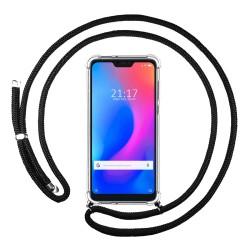 Funda Colgante Transparente para Xiaomi Redmi 6 Pro / Mi A2 Lite con Cordon Negro