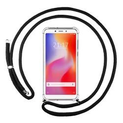 Funda Colgante Transparente para Xiaomi Redmi 6A con Cordon Negro