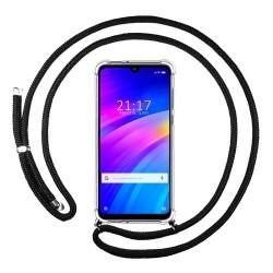 Funda Colgante Transparente para Xiaomi Redmi 7 con Cordon Negro