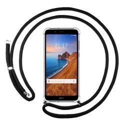 Funda Colgante Transparente para Xiaomi Redmi 7A con Cordon Negro