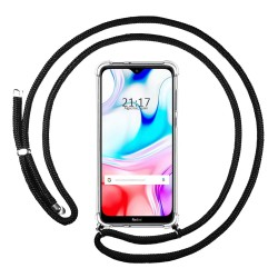 Funda Colgante Transparente para Xiaomi Redmi 8 con Cordon Negro